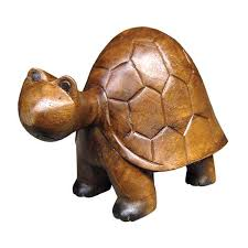 handcarved wooden tortoise turtle small