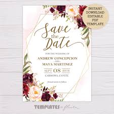 Marsala Flowers With Gold Frame Save The Date Template