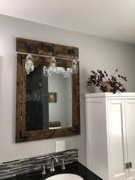 Rustic Bathroom Vanity Lights Mesmerizing Mirror And Light Bathroom Set Bathroom Vanity Mason Jar Light Etsy