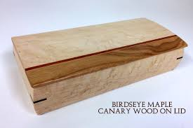 tv remote box tvr 11 birdseye maple wood canary lid