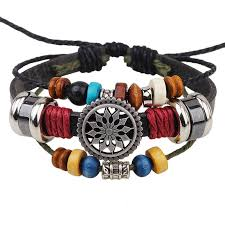 handmade pu leather bracelet colourful tribal star flower lb 001