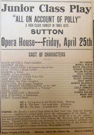 Sutton Nebraska Museum: 1919 Sutton High Junior Class Play Bill
