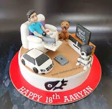 Ps4 Playstation Theme Cake With Boy Sitting On Recliner Playing