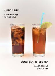 a long island iced tea contains 21g of sugar and 262 calories