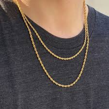 Rope Chain Width Chart 3mm 18k Gold Finish 2 Rope Chain Set Helloice Jewelry