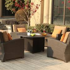 propane fire pit table with chairs. darlee vienna 4-person resin wicker patio conversation set with fire pit table - espresso propane chairs