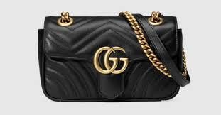 Black Leather GG Marmont Matelassé <b>Mini Bag</b> Spring Closure ...