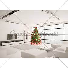 Christmas Living Room Decorating Ideas Interesting Christmas Tree In Living Room Interior 48d Render GL Stock Images