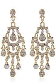 rhinestone decor chandelier dangle earrings