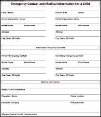 Child Information Form Template Printable Emergency Contact Form