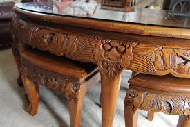 rosewood chinese oval coffee table with six stools