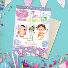 Spa Party Girl Birthday Invite Spa Party For Girls Spa