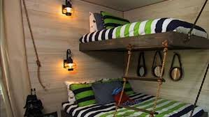 DIY Suspended Bunk Beds - Bunk beds are a lot of fun for kids, but