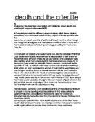 explain how a particular belief in an afterlife affect the way  death and the after life a christian perspective