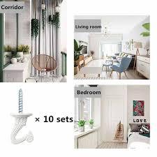 10 sets metal ceiling hooks white