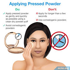 applying pressed powder to acne e skin