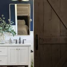 dark stained barn bathroom door