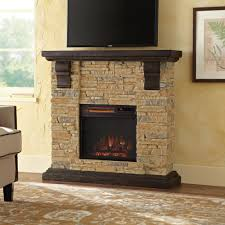 home decorators collection highland 40 in faux stone mantel electric fireplace in tan