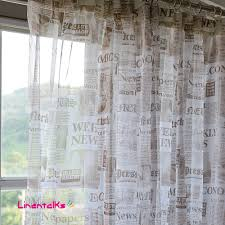 Modern Curtain Panels For Living Room Modern Style Full English Newspapers Design Deft Sheer Curtain