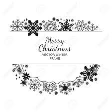 Black And White Greeting Card Black White Snowflake Frame Decoration On White Background