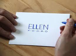 Original Ellen Foord How To Hand Letter An Envelope Blue Step 1