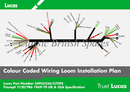 triumph genuine lucas wiring harness 54955256 1969 70 t100 t120 triumph genuine lucas wiring harness 54955256 54957095 t100 t120 tr6 1969 70