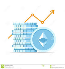 Cyber Currency Charts Stack Of Ethereum Cryptocurrency With Growth Value Graph