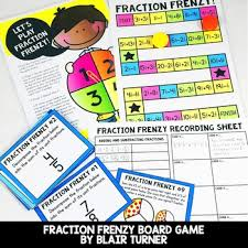 Subtraction Frenzy Worksheets Beauteous Adding And Subtracting Fractions Board Game 44th Grade Math Centers