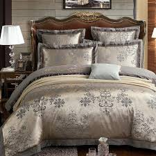 luxury jacquard damask silk bedding set gold bed sheets with gray pattern duvet cover set embroidery cotton bed linen southwestern bedding double duvet