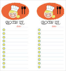 grocery list template printable microsoft excel grocery list template