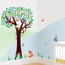 nursery cartoon wall art decor stickers birds monkeys tree wall decals for baby kids room decorative