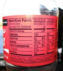 Coca Cola Nutrition Chart Nutrition Facts Coca Cola