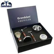 grandslam luxury men safety razor cartridge shaving shaver kit for shave beard gift set badger hair brush stand face soap bowl