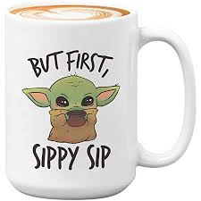 Baby yoda has continued to take the internet by storm after a gif of the mandalorian character sipping soup became your perfect new shady meme. Amazon Com Baby Yoda Mug Funny Get In Loser We Are Getting Chicky Nuggies Star Wars Ceramic Coffee Mug Gift Cup White 11oz B Kitchen Dining