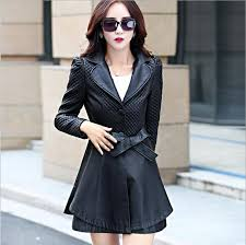 2017 spring autumn new womens leather trench coat very good quality red leather jacket las long