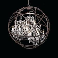 nickel orb chandelier brushed nickel crystal orb 6 light
