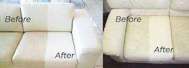 white leather couch cleaning before and after