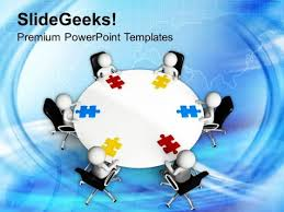 3d men on round table with puzzle powerpoint templates ppt backgrounds for slides 0713 title