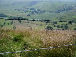 wire farm fence. Extensive View Of Green Farm Derbyshire Dales, With Old Barbed Wire Fence, Located Fence