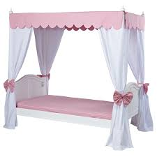 Annabella Poster Bed with Pink Scallop Canopy and Curtains ...