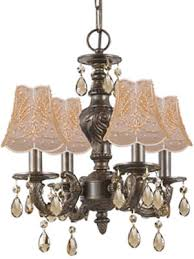 crystorama 5024 antique french antique reion crystal chandelier or flush mount shown in venetian bronze finish with 1sh gd gold and pearl beaded on