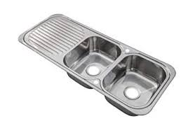 Grand Taps <b>Stainless Steel</b> Inset Kitchen Sink <b>Double</b> Bowl with ...