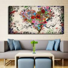 modern big canvas wall art canvas painting watercolor heart flowers abstract wall pictures for living room on wall art canvas for living room with modern big canvas wall art canvas painting watercolor heart flowers