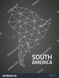 South America Black Triangle Mosaic Outline Stock Illustration