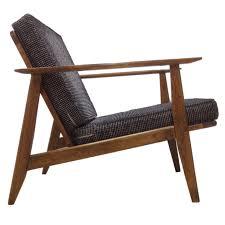 dining room small brown danish teak wood armchair with modern gray comfortable sitting cushion minimalist