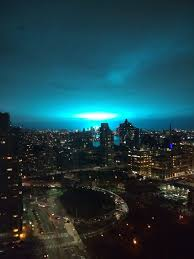 Blue Lights In Sky At Night Alien Invasion In Nyc Bright Flickering Light Caused By