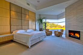 modern master bedroom with fireplace. Interior, Awesome Indoor Plant Decoration Ideas: Fabulous Simple Modern Master Bedroom With Fireplace L