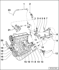 volkswagen workshop manuals > golf mk4 > engine > 4 cylinder engine > 4 cylinder injection engine 1 6 l engine mechanics > engine cooling > removing and installing parts of cooling system > parts of cooling system