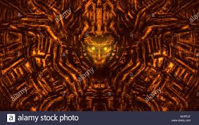 Evil Robot Designs Alien Lamp Alien Wall With Bas Relief And Protruding Robot Head