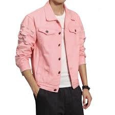 denim jacket men ripped holes pink black jean jackets pure color new 2018 garment washed male denim coat large size m 5xl womens denim jacket with fur